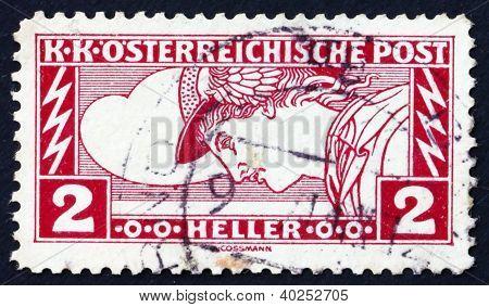 Postage stamp Austria 1917 Mercury, Messenger