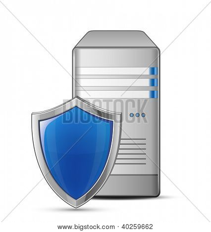 IT security concept. Server and shield. Protected computer server. Raster version