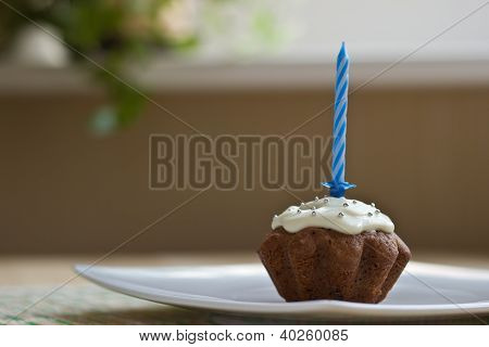 Birthday Muffin With Blue Candle