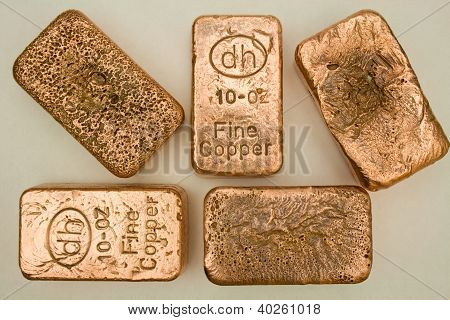 Copper Bullion Bars - Ingots