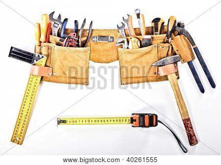classic tools belt isolated on white background