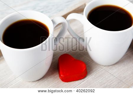 Morning Valentine  coffee with sweet marzipan heart