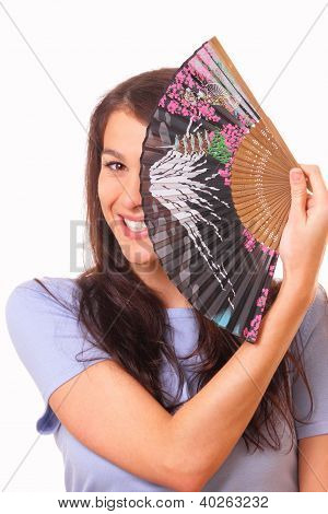 Attractive Young Woman With A Fan