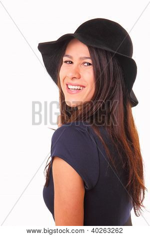 Beautiful And Happy Young Woman In A Black Hat