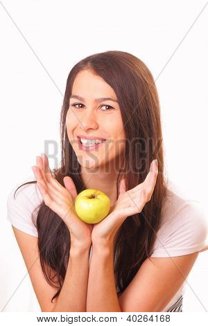 Pretty Young Woman With An Apple