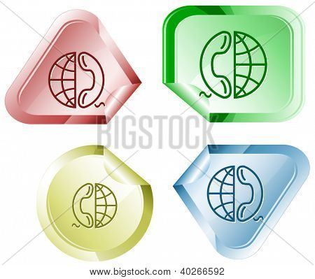 Globe and phone. Stickers. Raster illustration. Vector version is in my portfolio.