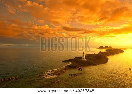 nassau bahamas and lighthouse at dawn