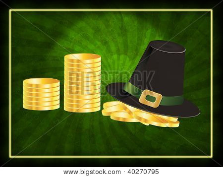 Hat And Coins Background