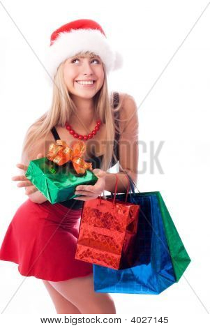 Pretty Girl With Christmas Presents