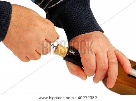 Hands Open Bottle Of Wine.