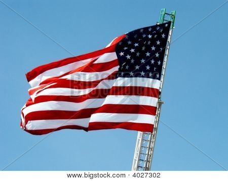 Old Glory On Fire Truck. Remember.