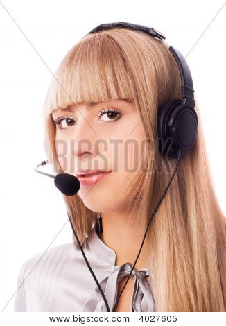 Beautiful Woman Working In The Call Center