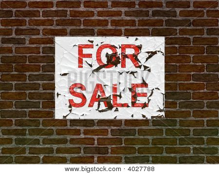 House Brick Wall With For Sale Poster On It