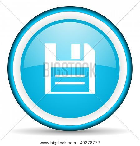 disk blue glossy icon on white background