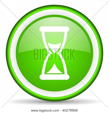 time green glossy icon on white background