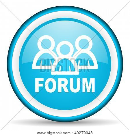 forum blue glossy icon on white background