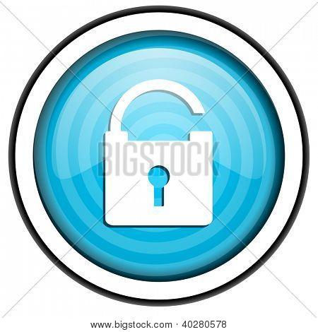 padlock blue glossy icon isolated on white background