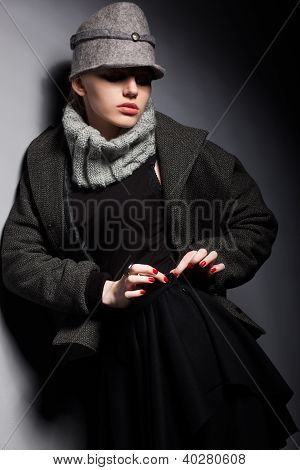 Trendy Woman Mod In Woolen Cap And Jacket - Seasonal Collection