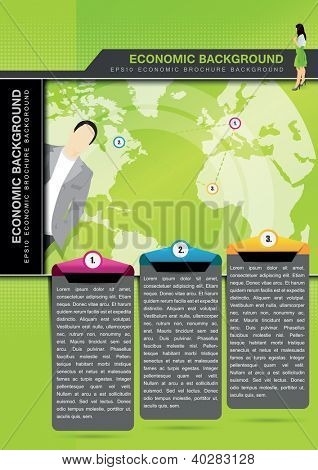 Green vector economic background with managers for brochure