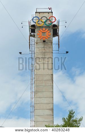 SARAJEVO, BOSNIA - AUGUST 13, 2012: Tower with the logo of Olympic Games on August 13, 2012. The 1984 Winter Olympics, officially known as the XIV Olympic Winter Games took place in Sarajevo.
