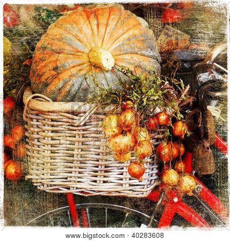 pumpkins on market - artisitic still life in retro style