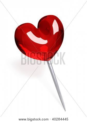 Red glass push pin in the shape of heart isolated on white background.