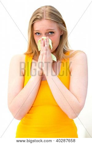 sick woman using tissue on white background