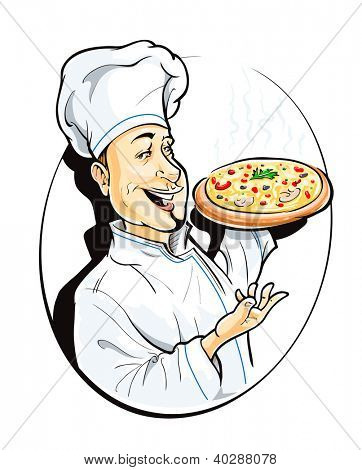 cook with pizza vector illustration isolated on white background