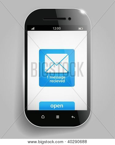 Photorealistic modern mobile phone template with message
