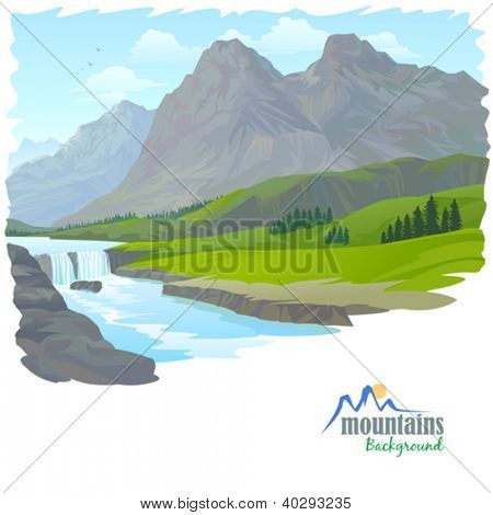 WATERFALL , MOUNTAIN AND VALLEY