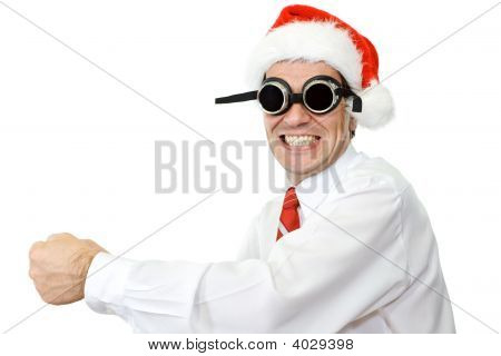 Crazy Santa Hat Businessman