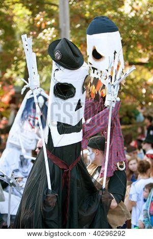 Skeleton Puppeteers Perform In Halloween Parade