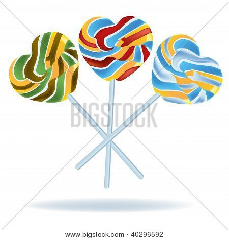 Heart Shaped Lollipop Vector