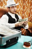 picture of mafia  - Mafia man with a cigar and a pack of money - JPG