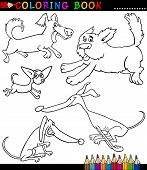 foto of newfoundland puppy  - Coloring Book or Coloring Page Black and White Cartoon Illustration of Funny Playful Dogs or Puppies - JPG