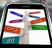 Domains On Smartphone Shows Internet Websites