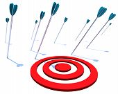 stock photo of missing  - Many arrows miss their intended target symbolizing a goal not achieved - JPG