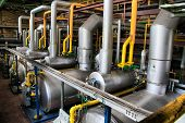 stock photo of boiler  - A view of an industrial boiler room - JPG
