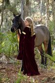 picture of bareback  - beautiful woman in medieval dress and arabian horse in forest - JPG