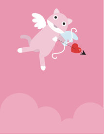 image of ero  - A pink cat Eros is flying with a bow - JPG