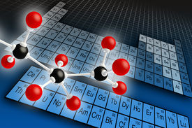 stock photo of periodic table elements  - Molecule structure and periodic table of elements - JPG