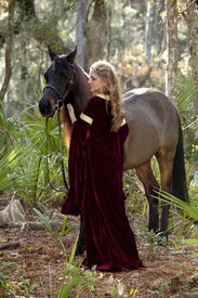 stock photo of bareback  - beautiful woman in medieval dress and arabian horse in forest - JPG