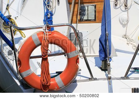 Lifebuoy Attached To A Boat At The Port Of Venice Ready Upon Departure