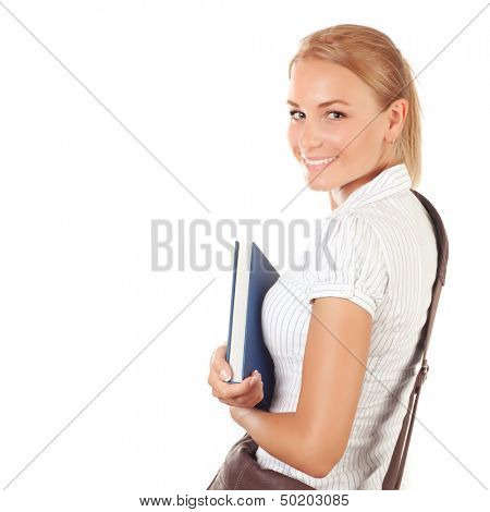 Closeup portrait of pretty schoolgirl with textbook isolated on white background, back to school, exam to university, education conception