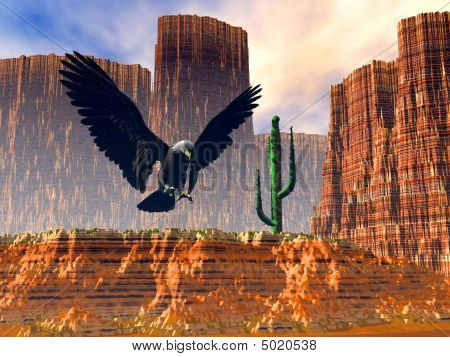 Eagle Flight Over The Desert