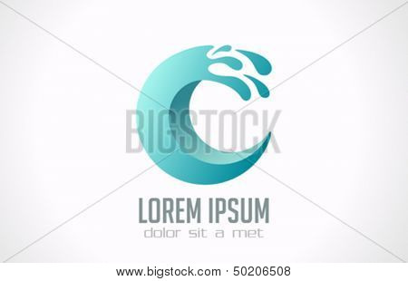 Water wave abstract in the circle vector design logo template. Creative aqua fun emblem symbol icon
