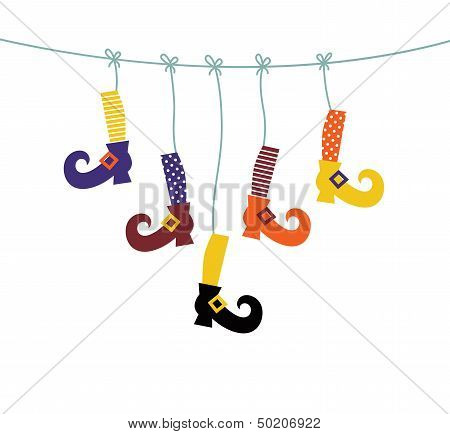 Witch Shoes and Socks Symbols Hanging Isolated On White