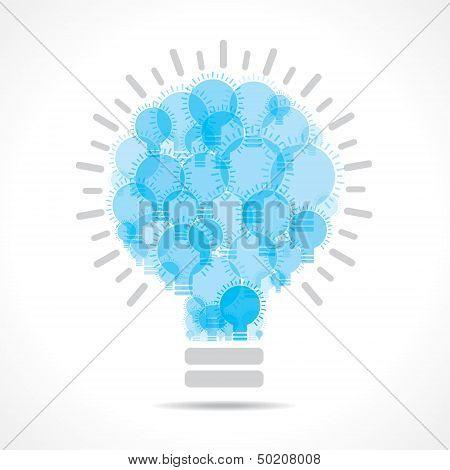 Blue light bulbs form a big bulb