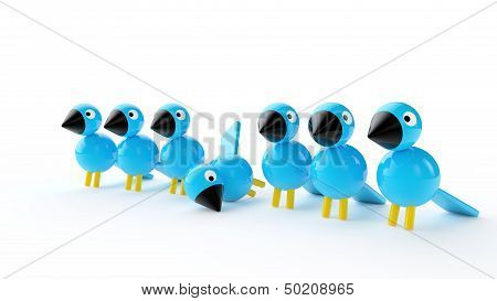 Blue Birds On White Background