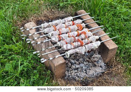 Shish Kebab On The Improvised Oven Made Of Brick